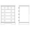 Traditional Taller Chest of Drawers DWG (mm)